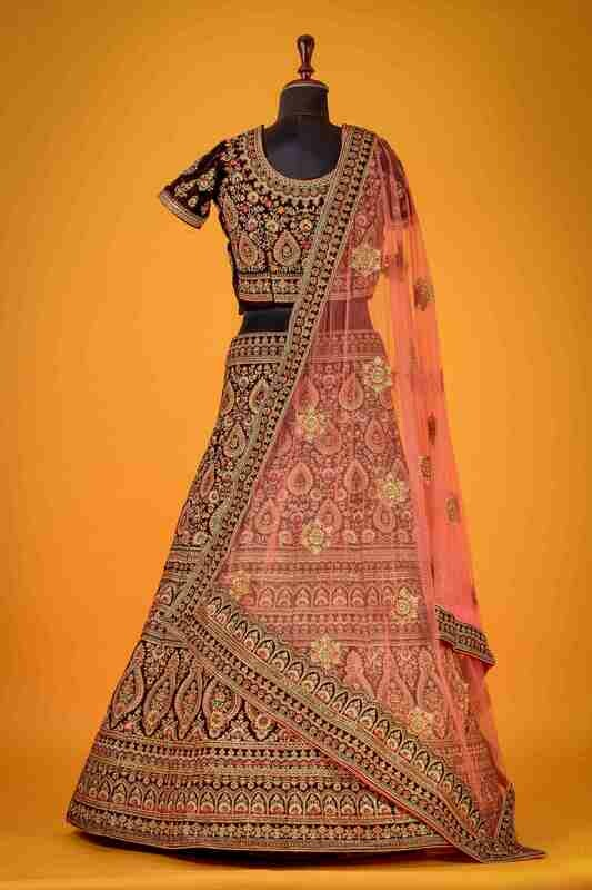 Heavy Bridal Wear Maroon Color Velvet Lehenga Choli