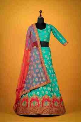 Heavy Embroidered Banarasi Silk Lehenga In Blue