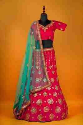 Heavy Wedding Wear Raw Silk Lehenga In Pink