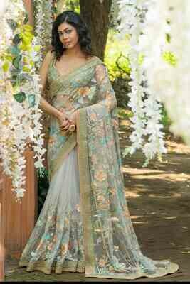 Latest Grey Color Cording Embroidered Indian Silk Saree