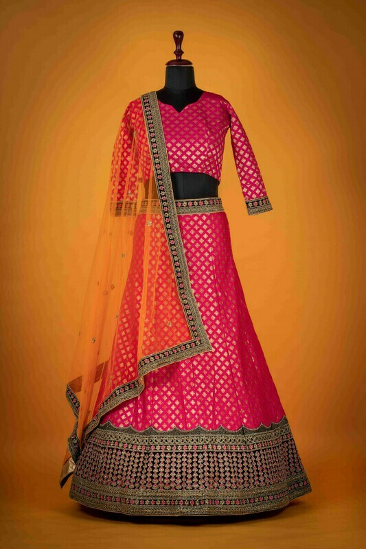 Magenta Color Banarasi Silk Wedding Wear Lehenga