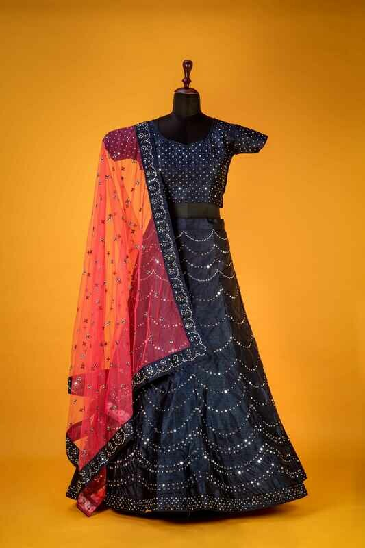 Navy Blue Real Mirror Embroidered Lehenga Choli
