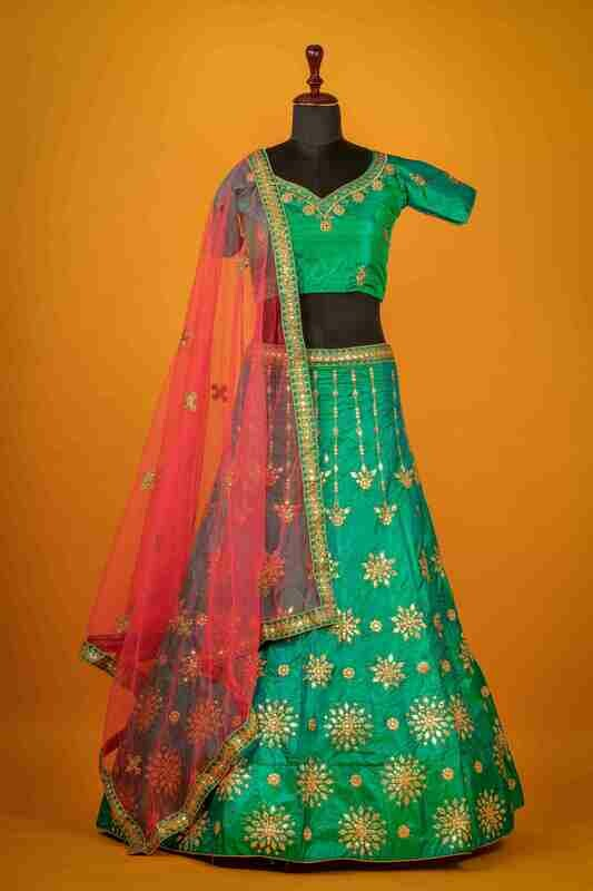 Peacock Green Heavy Embroidered Lehenga In Taffeta
