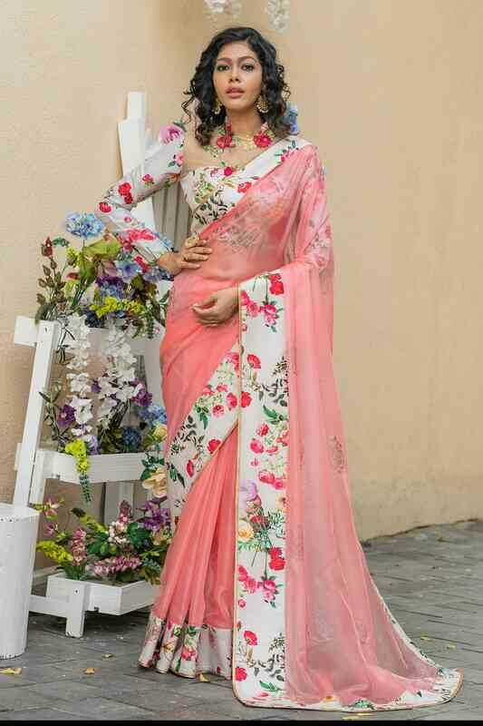Pink Color Swarovski And Printed Indian Organza Sarees