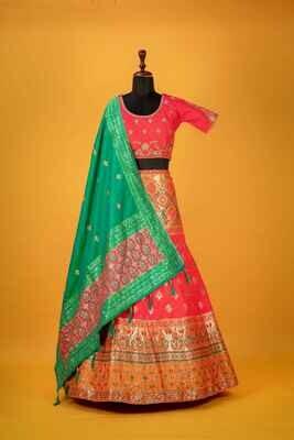 Rani Color Banarasi Silk Bridal Lehenga