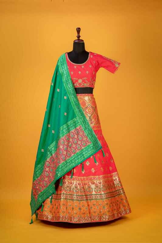 Rani Color Banarasi Silk Bridal Lehenga