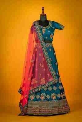 Raw Silk Heavy Bridal Wear Lehenga In Navy Blue