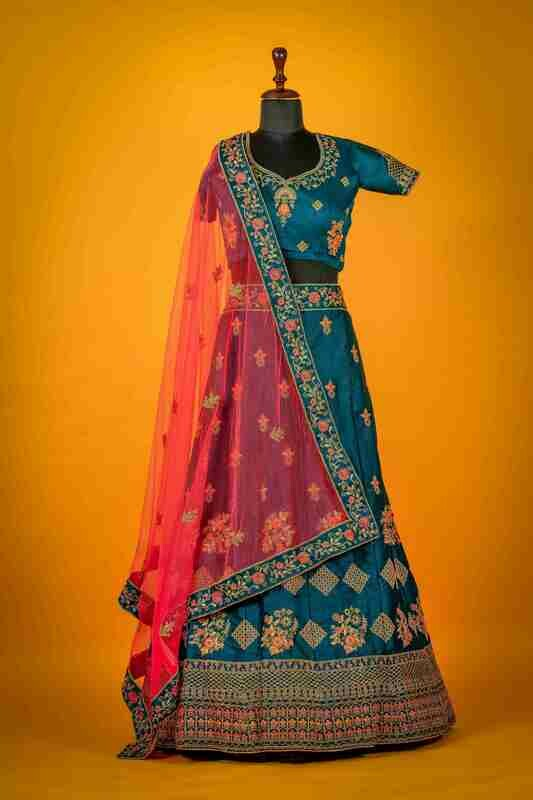 Raw Silk Heavy Bridal Wear Lehenga In Navy Blue