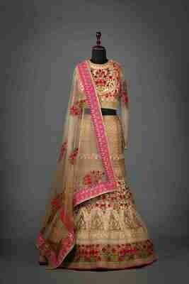 Rose Pink Bridal Lehenga In Raw Silk