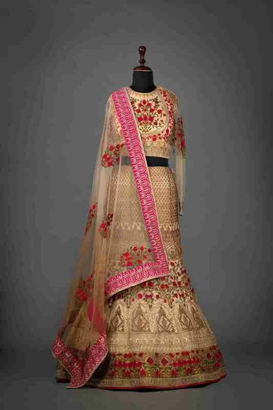 Rose Pink Bridal Lehenga In Raw Silk