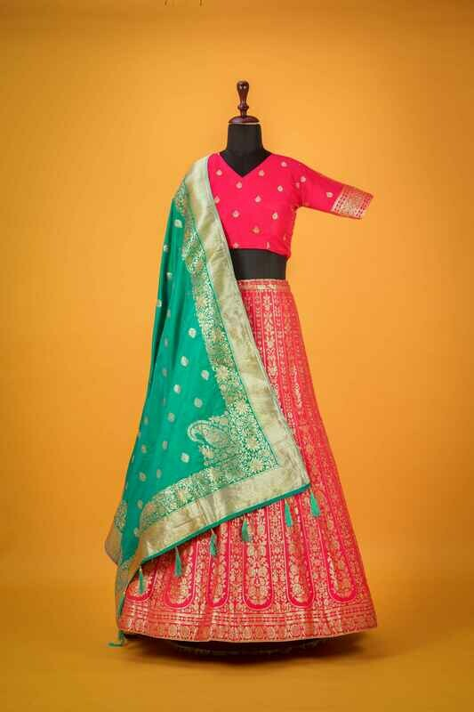 Pink Silk Anarkali Style Lehenga Choli with Dupatta