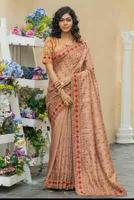 Thread Embroidered Copper Brown Indian Silk Saree