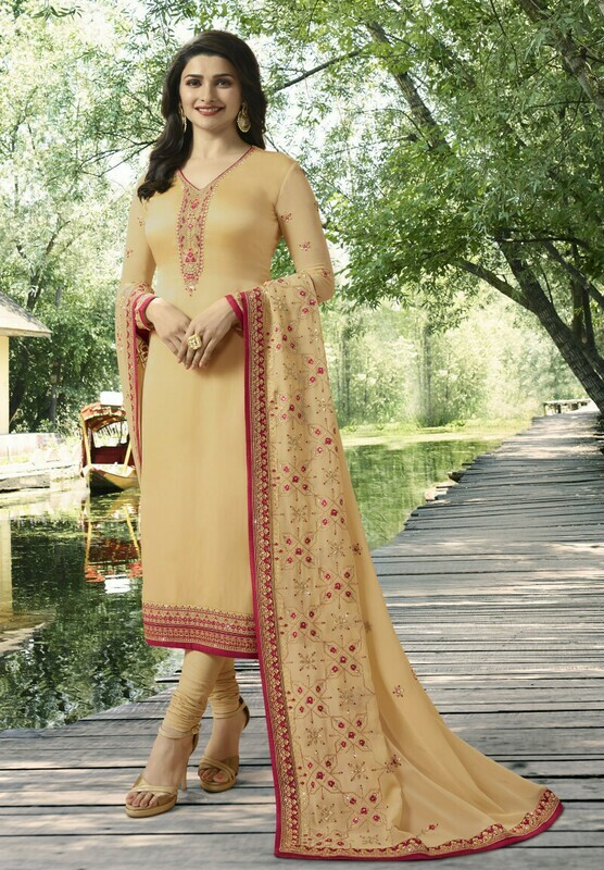 Prachi Desai cream Georgette Churidar Suit