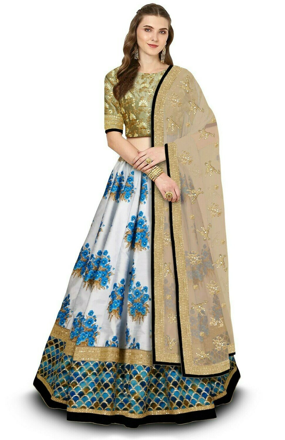 Grey Designer Partywear Embroidered Fine Art Silk Lehenga Choli