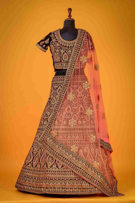 Heavy Bridal Wear Maroon Color Velvet Lehenga Choli