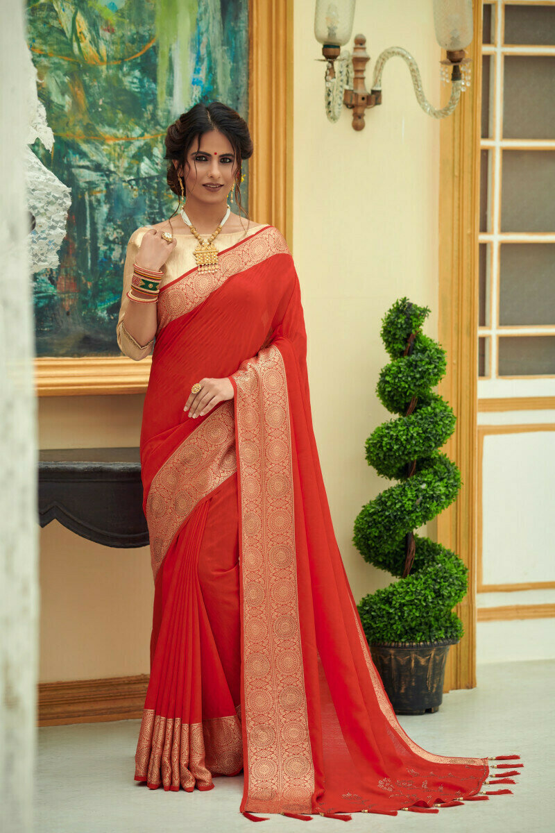 Heavy Silk Embroidered Saree In Red