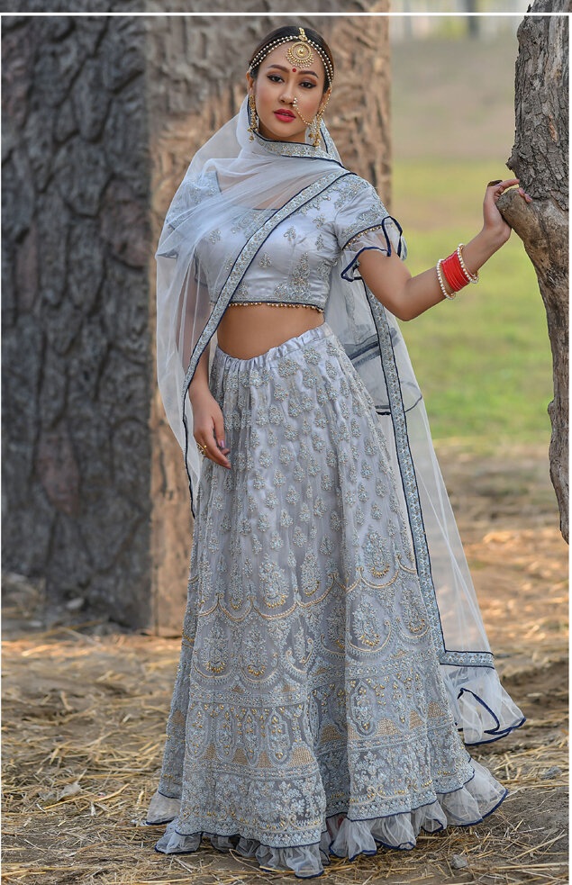 Ice Blue Heavy Butterfly Net Embroidered Lehenga