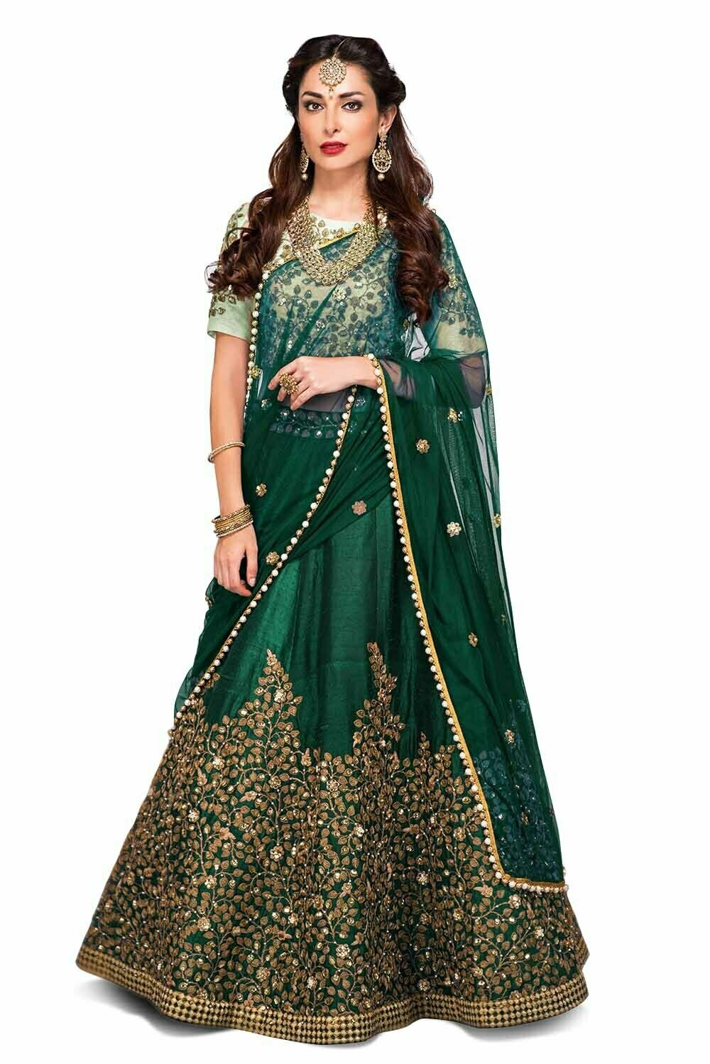 Intricate Green Color Embroidered Pure Silk Lehenga Choli