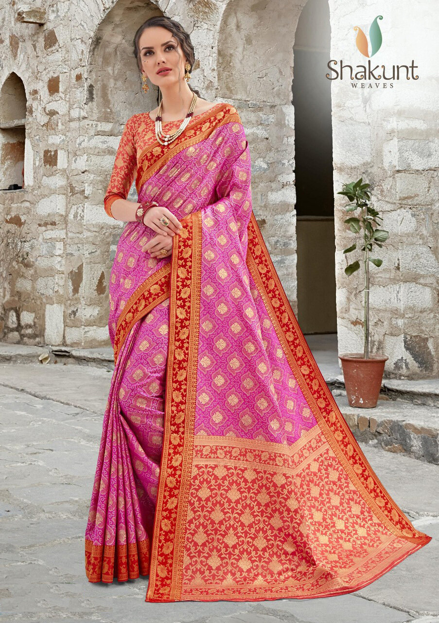 Jacquard Silk Saree In Red And Pink