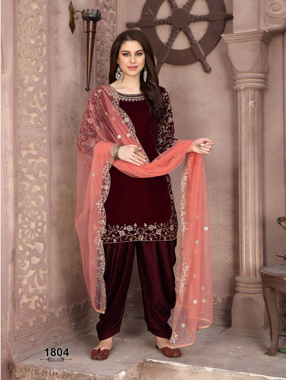 Maroon Party Wear Velvet Punjabi Suit