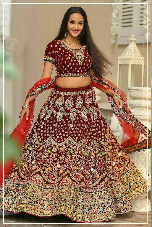Maroon Wedding Wear Velvet Lehenga Choli