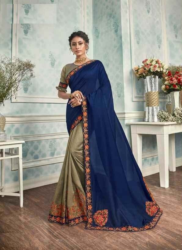 Mesmerising Golden And Blue Color Chanderi Silk Indian Saree