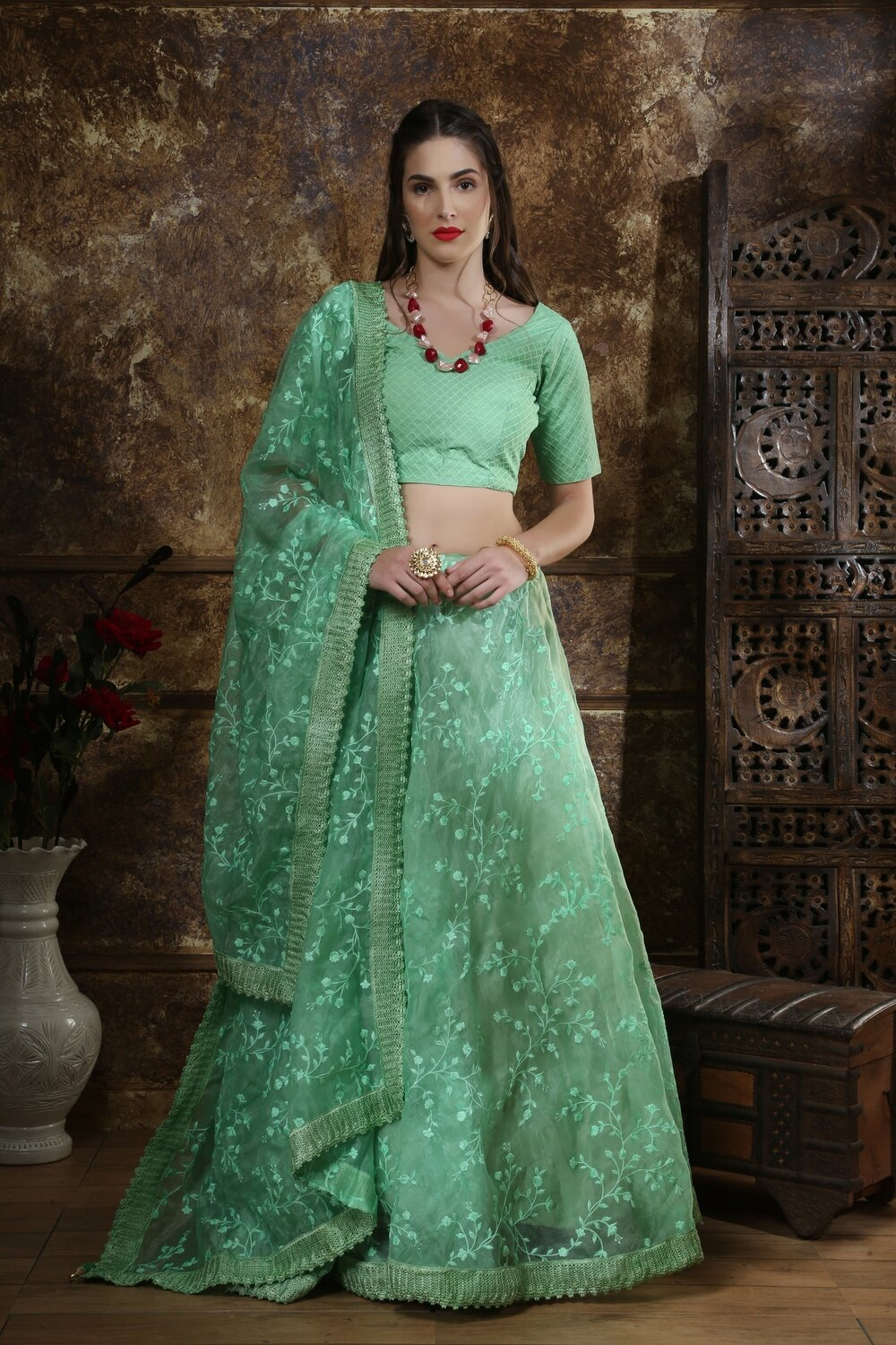 Mint Green Color Party Wear Lehenga Choli