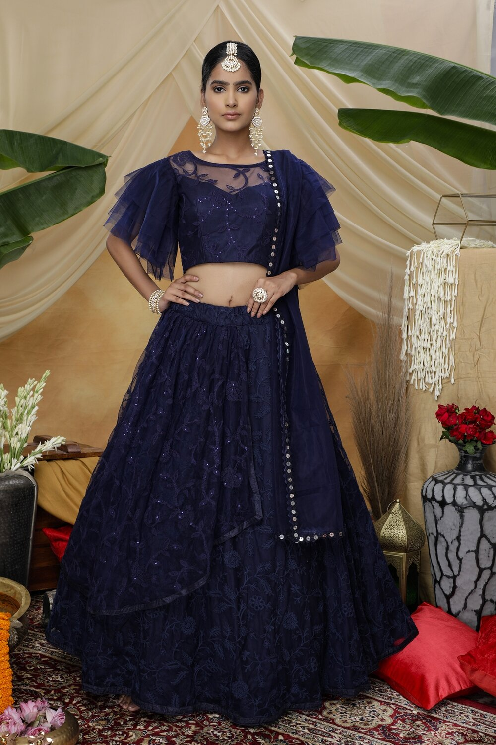 Navy Blue Sequence Embroidered Net Lehenga
