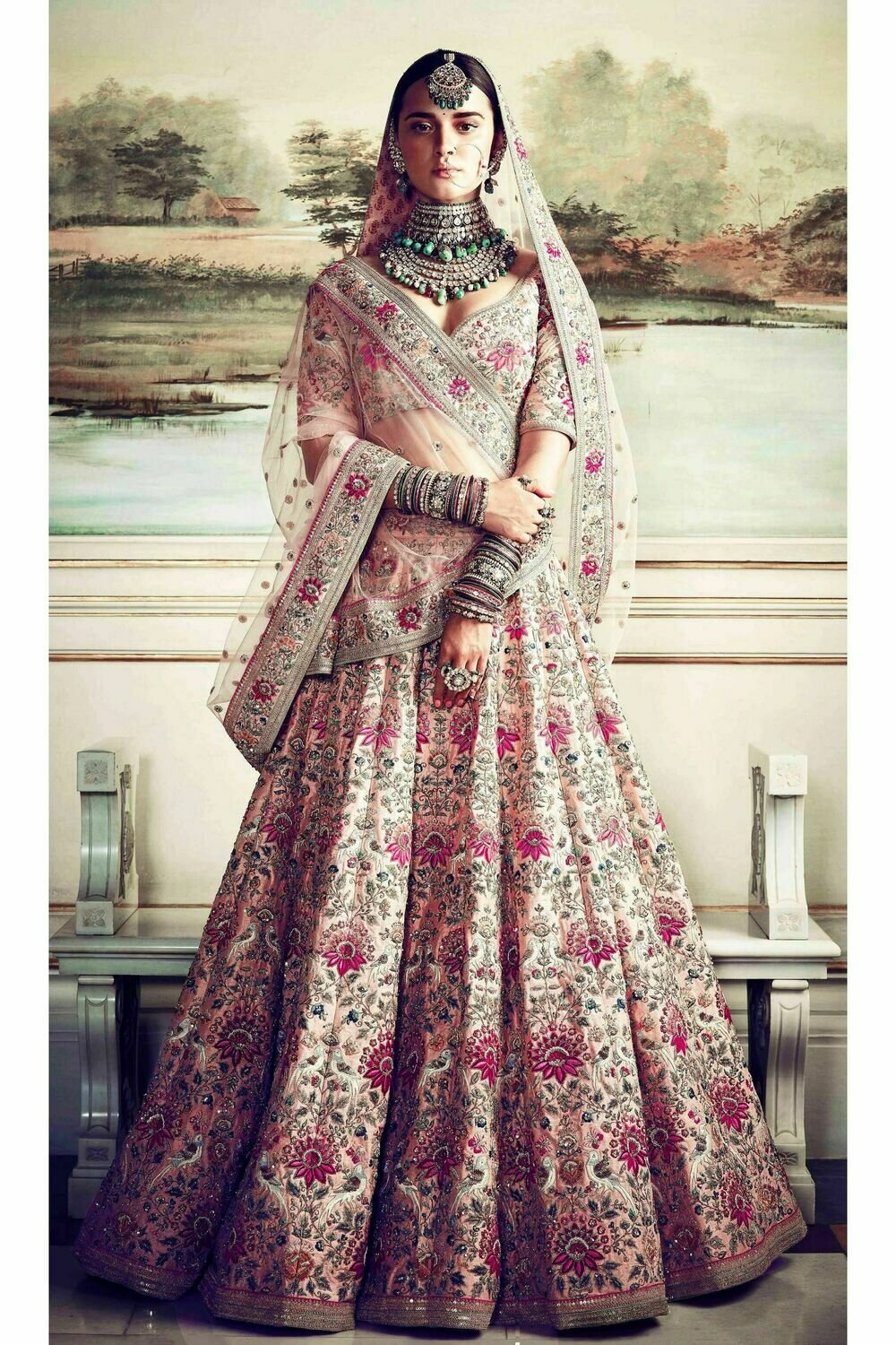 Peach Wedding Wear Embroidery Work Taffeta Silk Lehenga