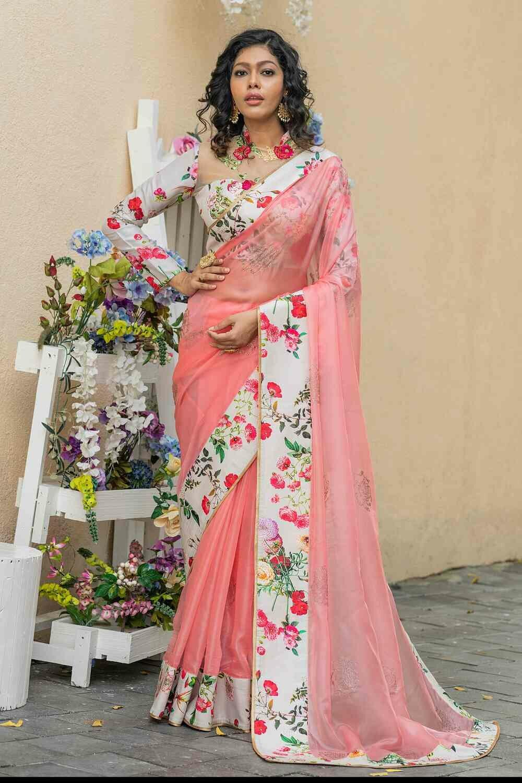 Pink Color Swarovski And Printed Indian Organza Sarees