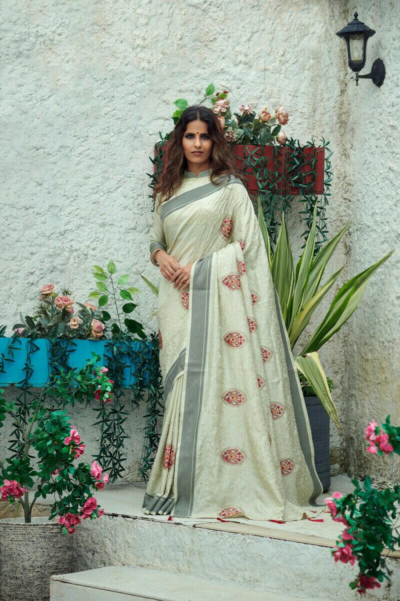 Pistachio Green Vichitra Silk Designer Saree