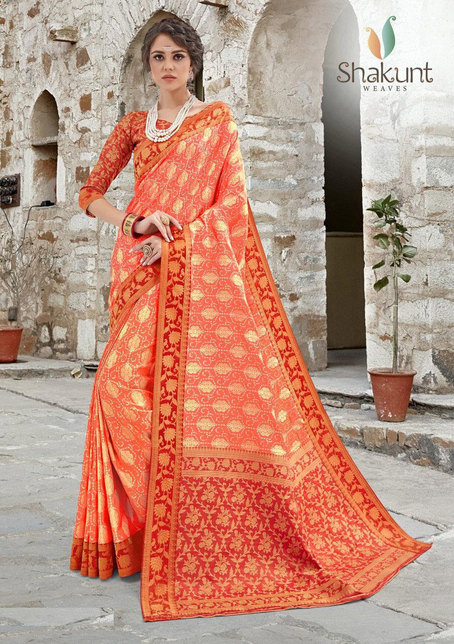 Red And Orange Embroidered Jacquard Silk Saree
