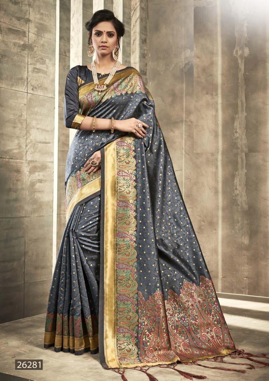 Refreshing Grey Color Party Wear Indian Silk Saree