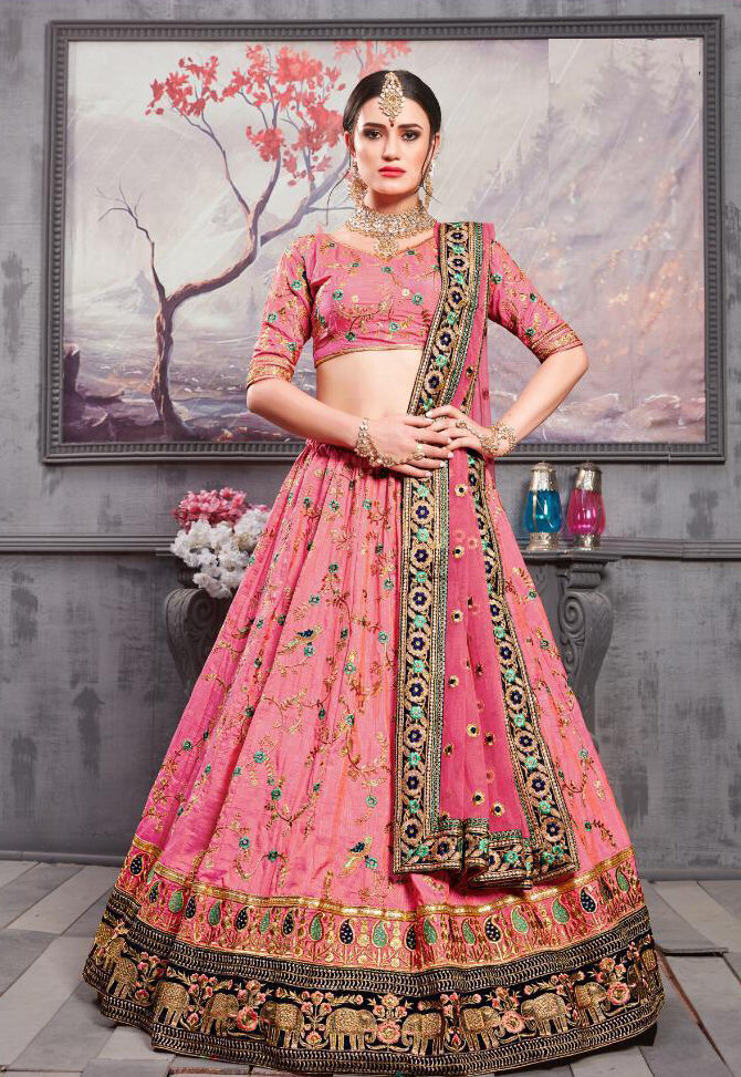 Rouge Pink Banarasi Silk Indian Wedding Wear Lehenga Choli