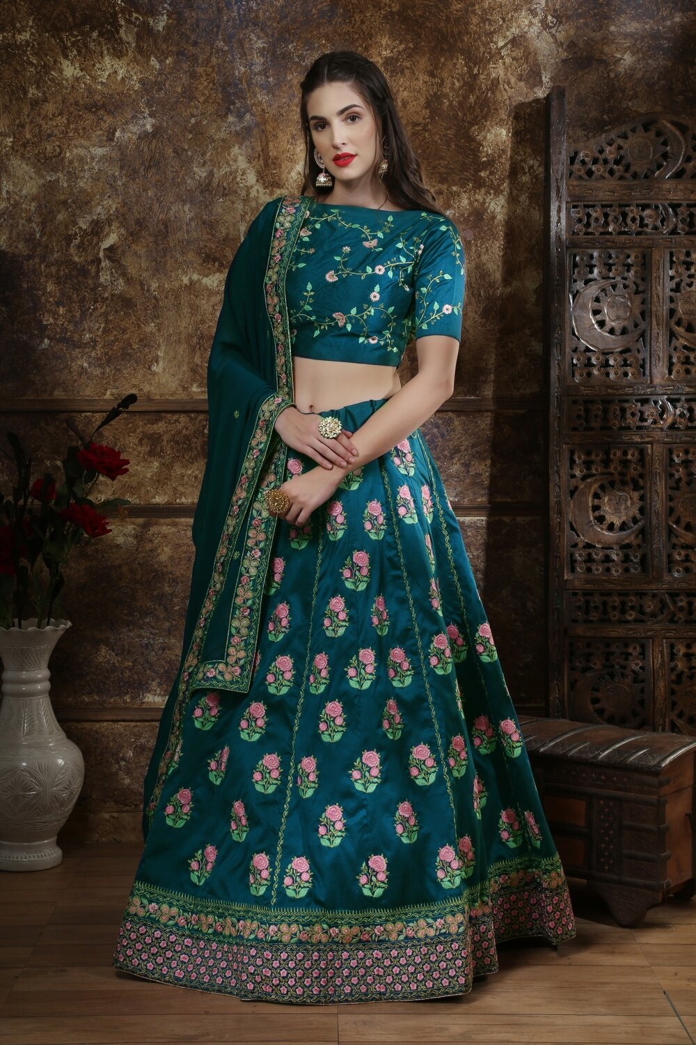 Teal Blue Party Wear Indian Lehenga Choli With Heavy Embroidery Work