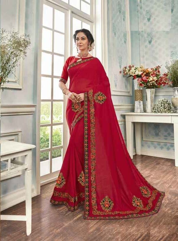 Tremendous Red Color Designer Party Wear Indian Saree