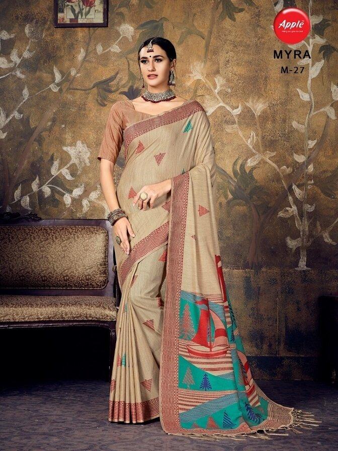 Trendy Beige Color Silk Saree