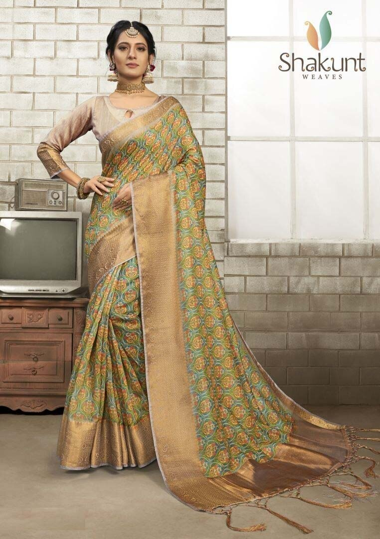 Trendy Multi Color Party Wear Art Silk Saree