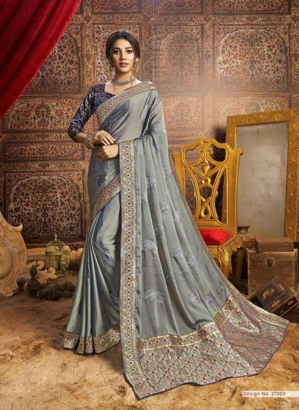 Vibrant Grey Color Fancy Embroidery Saree