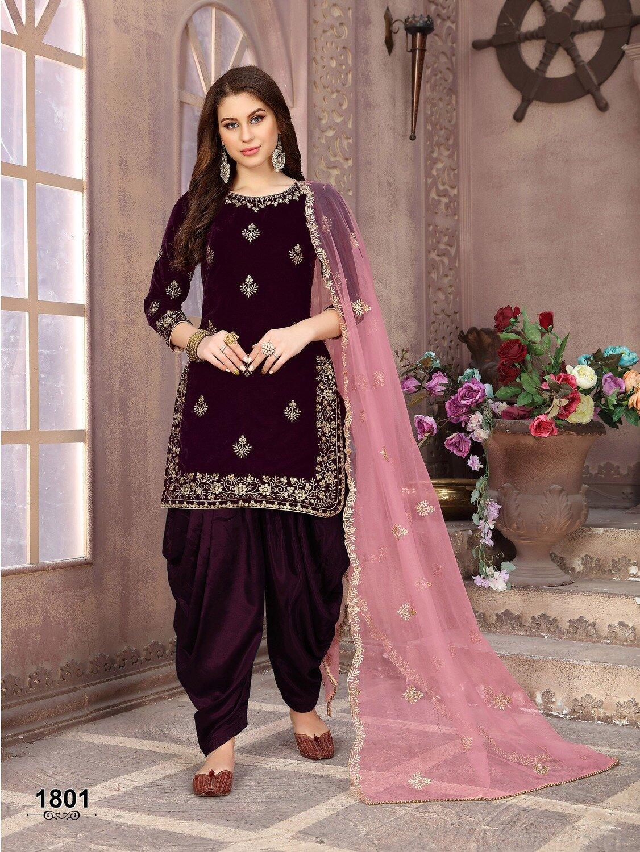 Wine Velvet Punjabi suit