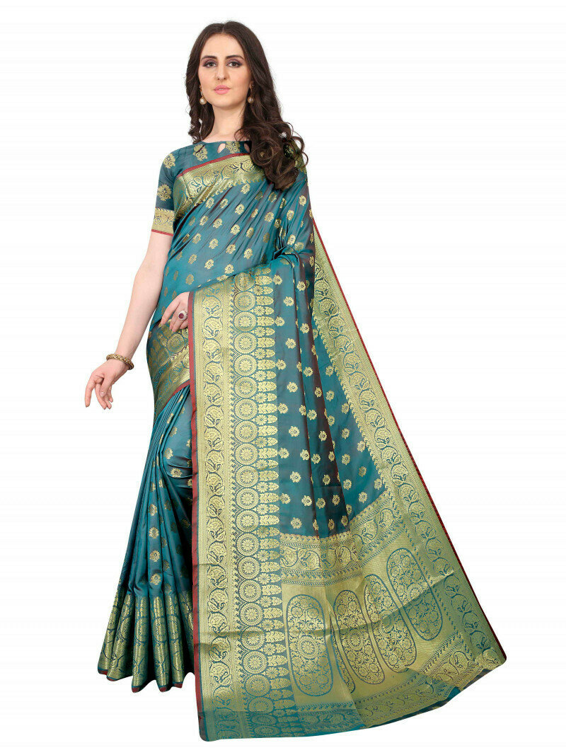 Glorious Jacquard Work Pallu Rama Heavy Saree
