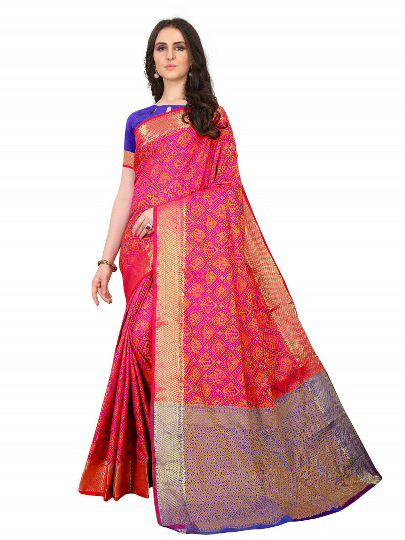 Glowing Pink HeavyJacquard Work Saree