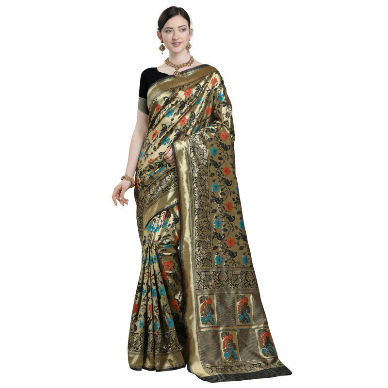 Admiring Banarsi Silk Black Heavy Saree