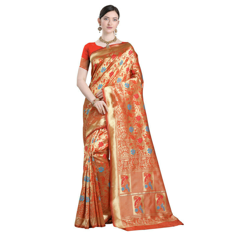 Blooming Jacqurad Work Orange Color Saree
