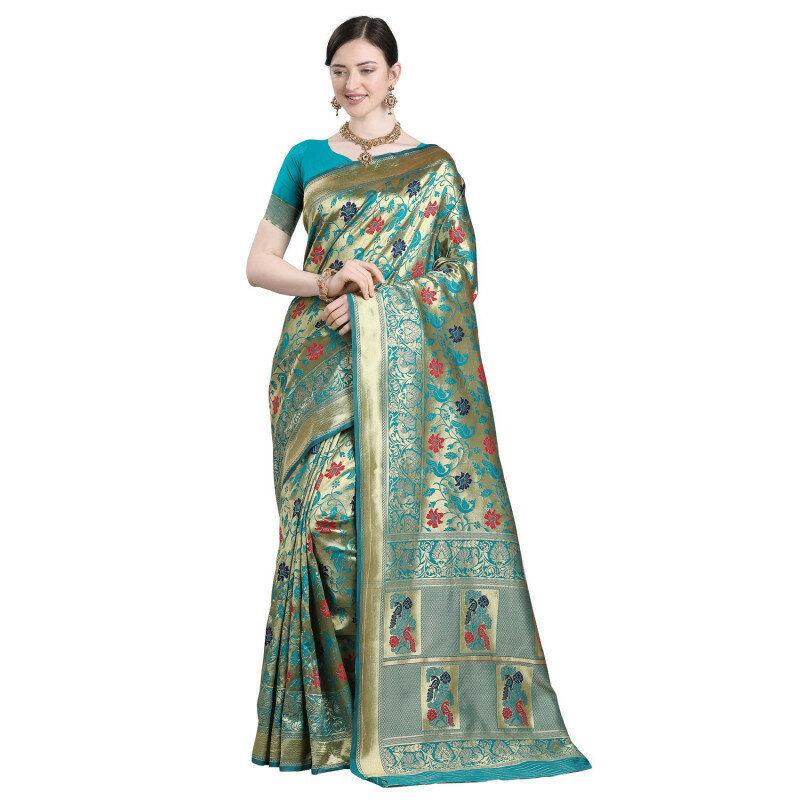 Glowing Rama Color Jacquard Work Silk Saree