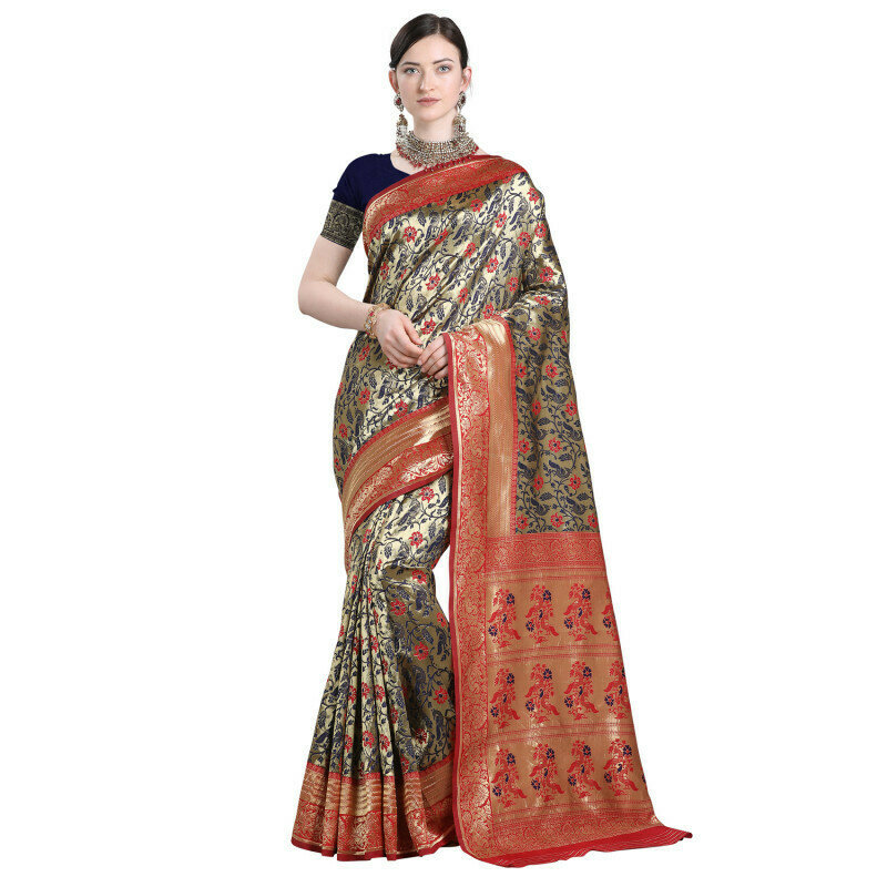 Flaunt Red And Blue Color Jacuqard Saree