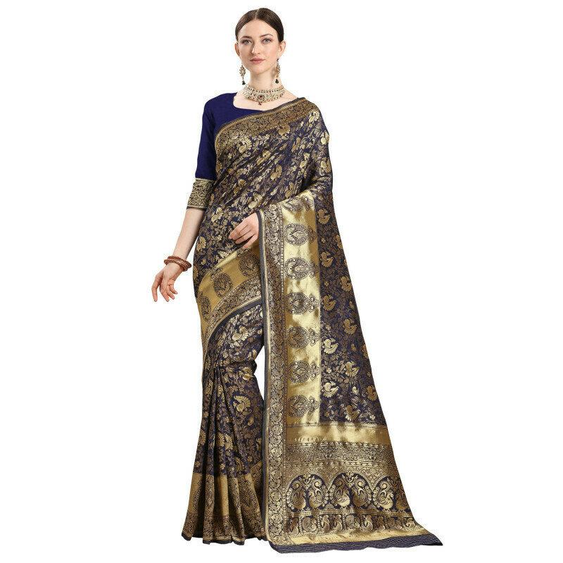 Excellent Jacquard Silk Navy Blue Color Saree