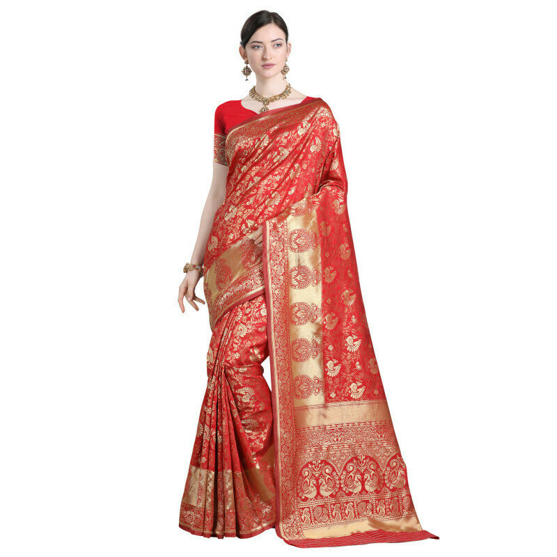Fabulous Jacquard Silk Festival Wear Red Saree