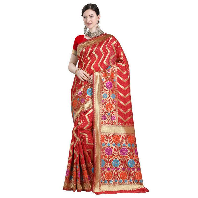 Deamnding Red Color Weaving Jacquard Work Saree