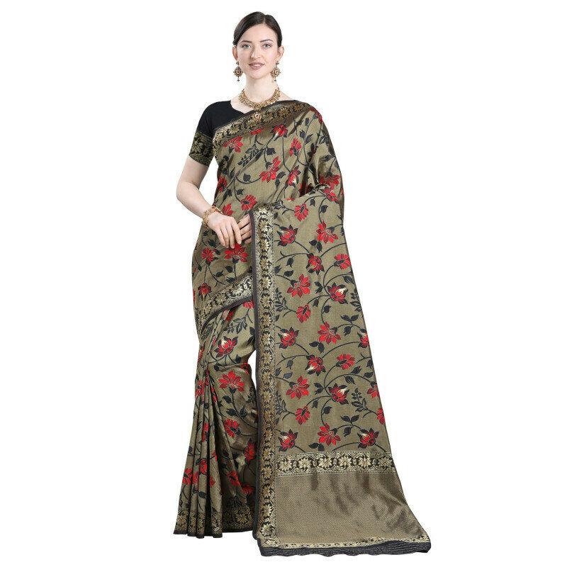 Pretty Festival Wear Jacquard Black Saree
